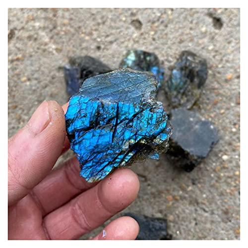 YSJJDRT Cristal Natural Rugoso 100% Cuarzo de Cristal Natural Curación de la Piedra curativa y labradorita Moonstone áspero Mineral Decoración de la casa 1pcs (Color : Labradorite, Size : 35 40g)