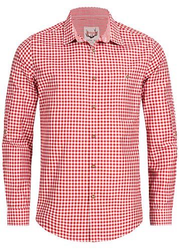 Stockerpoint Trachtenhemd OC-Martl | kariert | Regular Fit (M, Rot)