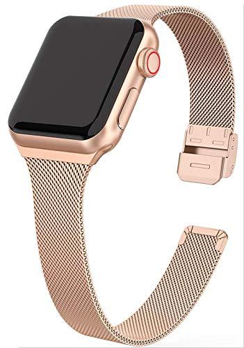 MaKTech Correa de Malla Milanesa Banda Estrecha de Acero Inoxidable con Pulsador Compatible con Apple Watch Serie 6/SE/5/4/3 (40mm/38mm,Oro Rosa)
