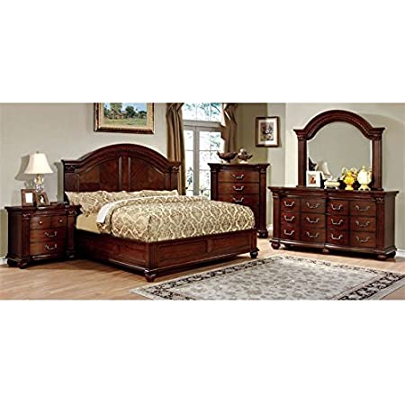 Amazon Com Furniture Of America Foa Sorella 4pc Cherry Solid Wood Bedroom Set Cal King Nightstand Dresser Mirror Furniture Decor