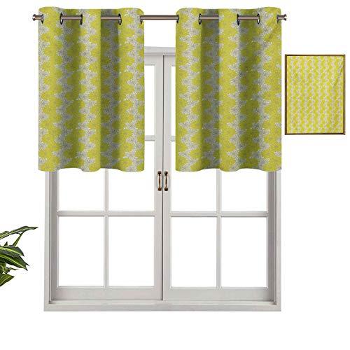 Hiiiman Cortinas cortas, con bloqueo de luz, bicolor, arreglo floral, ilustración de la naturaleza estacional con flores de pétalos, juego de 1, cortinas de ventana de 127 x 45 cm para sala de estar