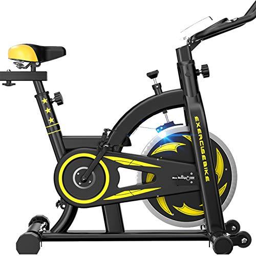 Broccoli Bicicleta de ciclismo para interior con correa de resistencia magnética ajustable, cómodo cojín de asiento con volante pesado y pantalla LCD para entrenamiento en casa, gimnasio, color negro