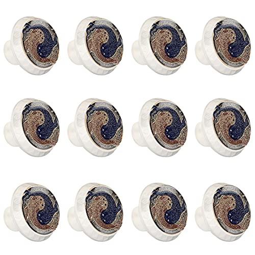rodde Estilo magnífico gabinete de cerámica perillas Tire manijas para Muebles Armario cajón Armario Cocina baño,Vintage Yin Yang Fish