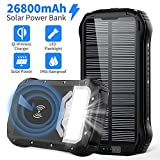 Solar Power Bank 26800mAh Solar Charger Qi Wireless Portable Charger with 4 Outputs & Dual Inputs Type-C, Waterproof External Backup Battery Pack with 18 LED Flashlight for iPhone, Android Phones