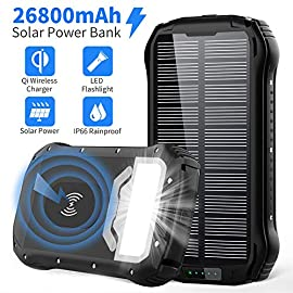 Solar Charger 26800mAh, Qi Wireless Portable Solar Power Bank with 4 Outputs & Dual Inputs Type-C, Waterproof External… 1 【Qi Wireless & 3 High-Speed Charging Output】2019 new upgraded 26800mAh Qi wireless solar charger compatible with iPhone 11/11 Pro/11 Pro Max/XS Max/XR/XS/X/8/8Plus/Samsung Galaxy S10/S9/S9+/S8/Note 9 and all qi-enabled devices. Besides, built-in 2 USB output and 1 Type-C output, allowing you safe to charge 4 devices. 【26800mAh Ultra High Capacity】Built-in 26800mAh lithium polymer battery, the solar phone charger can charge an iPhone XS for 8 times, a Galaxy S9 Plus for 6 times, an iPad Pro for 1.6 times! Automatically adjust the output to deliver the most suitable current, keep your devices from overcharging, over-current, over-voltage and short circuit. 【USB and Solar Charging 2-in-1】Dual input ports (Type-C and Micro USB) enable to fully charge itself around 10-13 hours. The solar panel could absorb light and transfer into electricity. Note: Solar charging is for emergency use, not primary charging source. It is highly recommend you fully charge via wall charger on first use.