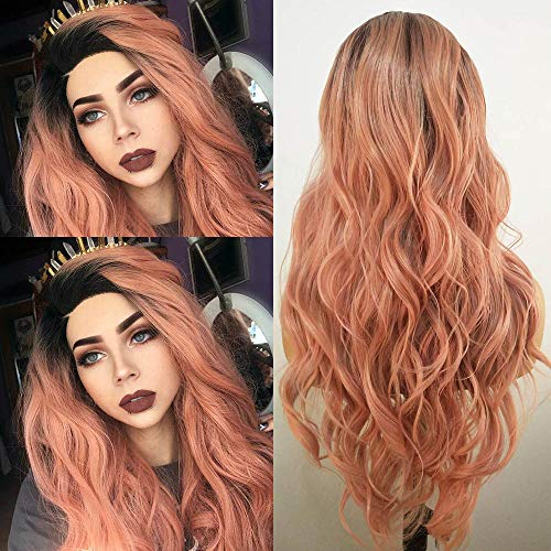 Fureya Fashion Orange Pink Lace Wigs Mixed Color Glueless Long Natural Wavy Synthetic Lace Front Wigs for Women HalfHand Tied Heat Resistant Hair Replacement 24 Inch with Eyelash