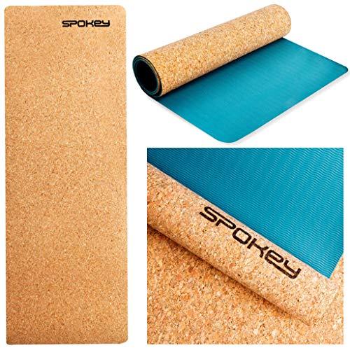 Spokey Savasana Tappetino da yoga 183 x 60 x 0,4 cm | Antiscivolo, stabilizzatore e sicuro | Per yoga, pilates, fitness e ginnastica | in sughero e TPE ecologico, biodegradabile al 100%