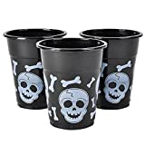 Rhode Island Novelty Black and White Skull and Cross Bones Pirate Plastic Cups (50)