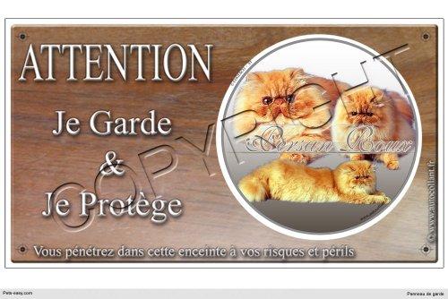 Panneau chat ou plaque Persans-Roux 20 cm