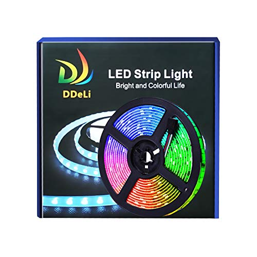 DDeLi LED Strip Lights Waterproof 16.4ft 5050 RGB LED Rope Lights Tape Lights Multi Color Changing with 44 Key IR Remote Ideal for Home Kitchen Christmas TV Back Lights DC 12V 3A