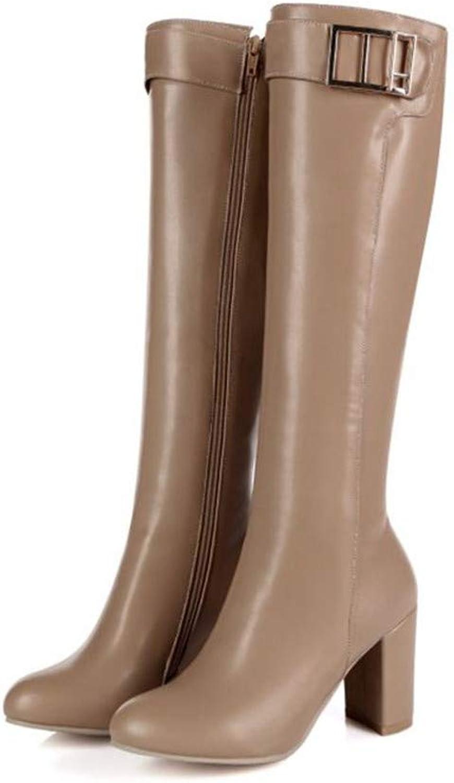 Julitia Women Knee High Boots Woman Round Toe High Heels Long Boots shoes
