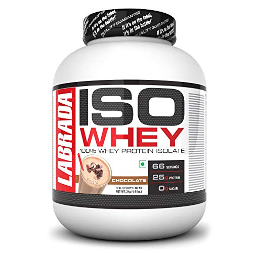 Labrada ISO WHEY 100% Whey Protein Isolate (Post Workout, 25g Protein, 0g Sugar,0 Fat,Gluten Free, Lactose Free, 66 Servings) – 4.4 lbs (2kg) (Chocolate)