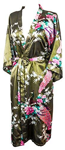 CCcollections Bademantel Robe Wäsche -Nachtabnutzung Kleidbrautjunfer Junggesellinnenabschied (Olivgrün (Olive Green))