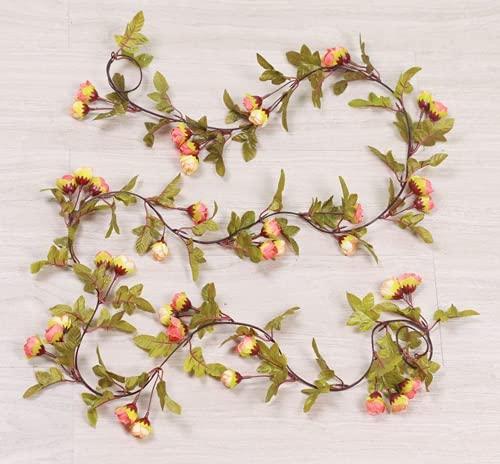 JONJUMP Hiedra artificial pequeñas rosas falsas flores de vid guirnalda de boda tienda decoración de plástico colgante plantas de pared de ratán hoja