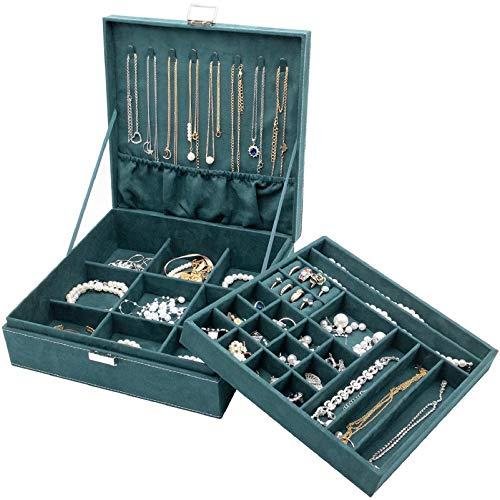 ProCase Schmuck Kästchen Organizer für Frauen, Zwei Schicht Schmuck Display Aufbewahrung Koffer mit 8 Halskette Kleiderbügel und herausnehmbaren Trennwand für Ohrringe Armbänder Ringe Uhren -Grün