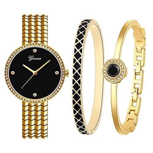 Souarts Geschenke für Frauen, Damenuhr Rosegold Silber Gold Farbe Armreif Geschenkset, Armbanduhr Schmuck Set, Damen Uhren Analog Quarz Edelstahl(Gold Schwarz)