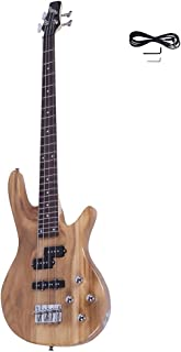 Waful Electric Bass Guitar، Starters Acoustic Bass Guitar Beginner Kit Full Size 4 String with Power Line، Wrench tool for Starter Gift Right Right Type-B Burlywood Color