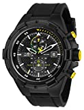 Invicta Men's Aviator Stainless Steel Quartz Silicone Strap, Black, 26 Casual Watch (Model: 28103)