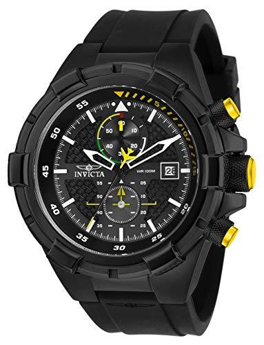 Invicta Men's Aviator Stainless Steel Quartz Silicone Strap, Black, 26 Casual Watch (Model: 28103)