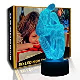 KangYD 3D Nachtlicht Zwei Männer Yoga, LED Illusionslampe, Visuelle Lampe, A - Black Base Berühren...