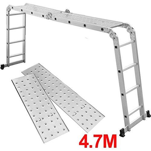 SWT calidad 4,7 m plegable multiusos de aluminio escalera multifunción con 2 plataformas para andamio: Amazon.es: Bricolaje y herramientas