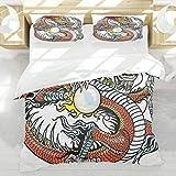 BEDNRY Criatura China Tradicional del dragón Que sostiene un gráfico Popular del Tatuaje de los Signos del Zodiaco de la Perla Grande,1 Funda Nórdica 220x240cm y 2 Funda de Almohada
