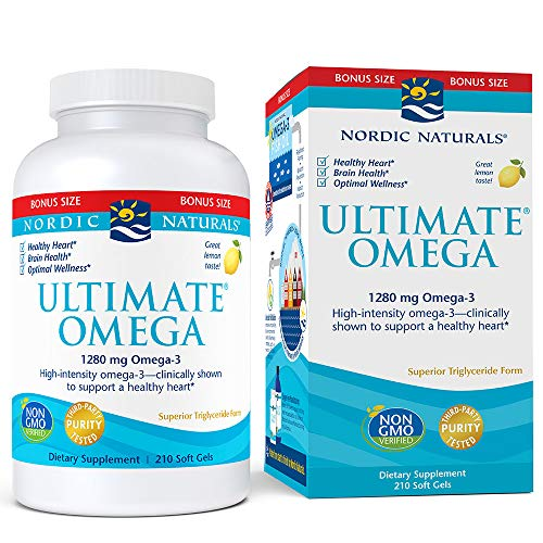 Nordic Naturals Ultimate Omega, Lemon Flavor - 1280 mg Omega-3 - 210 Soft Gels - High-Potency Omega-3 Fish Oil with EPA & DHA - Promotes Brain & Heart Health - Non-GMO - 105 Servings