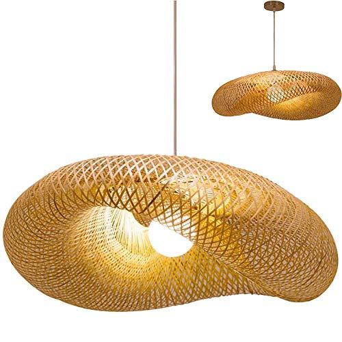 Retro Bambus Weblampe Natürliche Bambus Rattan Kronleuchter Garten Teestube Hängelampe Handgewebte Hängelampe E27 Beleuchtung Flur Hängendes Nachtlicht, 50cm