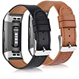 Tobfit Leather Band Compatible with Fitbit Charge 3 Bands & Fitbit Charge 4