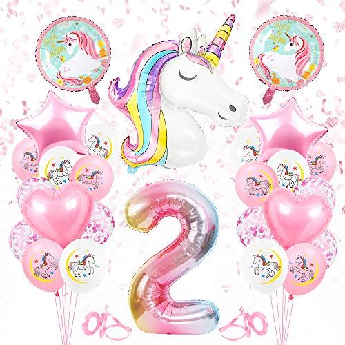 Bluelves Einhorn Luftballon 2, Geburtstagsdeko 2 Jahr Mädchen, Einhorn Luftballons Folienballon, Riesen Folienballon 2 Rosa, Ballon 2 Geburtstag