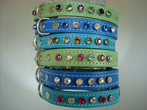 éléments de cristal Swarovski Collier Chien Cuir Concevez votre propre 9 Choix de cristal 4 tailles de collier 3 couleurs Turquoise Pistache Vert ou bleu foncé combinaisons de plus de 100