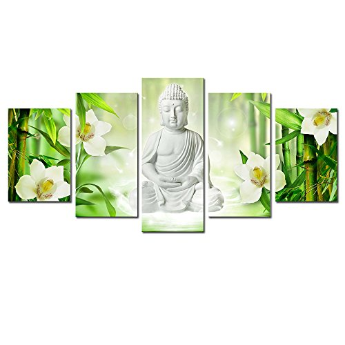 AWLXPHY Decor-Buddha Canvas Wall Art Large Ready to Hang 5 Panels for Living Room Decor Modern Still Life White Buddha Orchid Bamboo Stretched Gallery Wrapped Painting Green Art Giclee (W80 x H40)