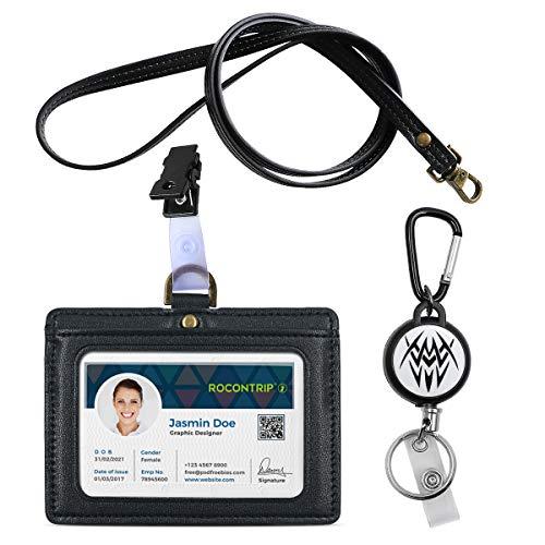 Ausweishalter Ausweishülle Doppelseitig Mikrofaser-Leder Ausweis-/Kartenhalter ID Card Holder Mit Schlüsselband/Halteband Kartenhalter Horizontale Stil (Schwarze Rolle)