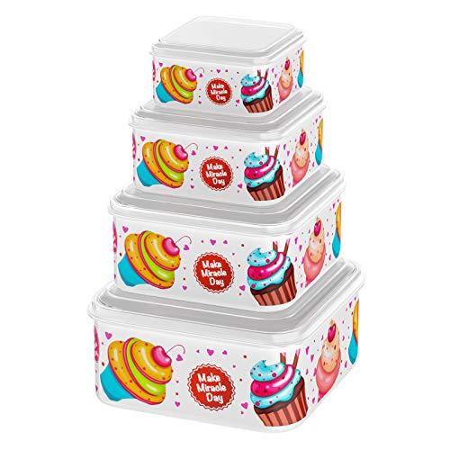 COSANSYS Frischhaltedosen Set luftdicht 4-teiliges Set Lunchbox Frischhaltebox mit Deckel für Lebensmittel Obst Gemüse, Mikrowellen Gefrierschrank geeignet