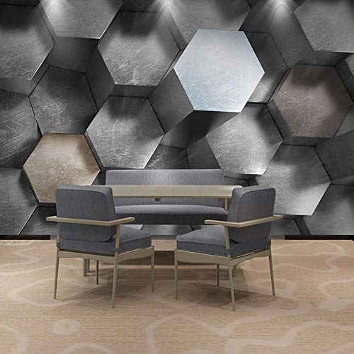 3D Stereoscopic Grey Cement Tapeten Wandbild Modern Abstract Art Hexagon Geometric Photo Wallpaper für Wohnzimmer Schlafzimmer Dekor-200 * 140cm
