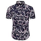 Camisas de Manga Corta para Hombre Camisas de Solapa de un Solo Pecho con Estampado Personalizado, Ajustadas y Ajustadas, Estilo Hawaiano, para la Playa X-Large