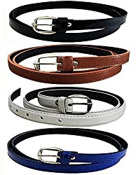 Glamio Girls PU Leather Belts Combo of 4 (Black,Brown,White & Blue)(GLA/WOMENBELTS/BKBRWHBLU)