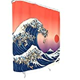 BOBONC The Great Wave of Pug Japan Muster Duschvorhang Anti-Bakteriell Wasserdicht Vorhang Bad Vorhang mit Ringe White 150x200cm