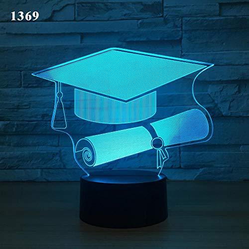 XHYYD 3D Nachtlicht Tischleuchte 16 Farben berühren und Fernbedienung Geschenkbox, Bowler Hut, LED-Lampe Kreativ Energiesparen Cartoon Weihnachten Heimdekoration Steuerung Schalter Nachtlicht Kinderge