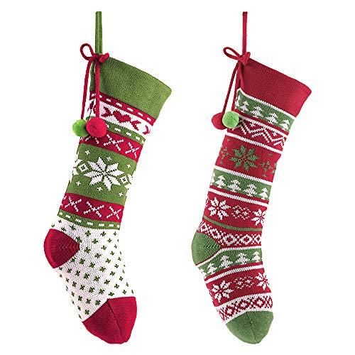 Valery Madelyn Weihnachsstrumpf 32cm 2er Set Gestrickte Strumpf Wolle Nikolausstiefel zum Befüllen und Aufhängen Weihnachtssocken für Kamin Weihnachtsdeko Grün Rot MEHRWEG Verpackung