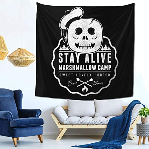 1033 Stay Alive Marshmallow Camp Ghostbusters Wall Hanging Tapestry for Living Room and Bedroom Spreads Good Vibes 59×59 Inches