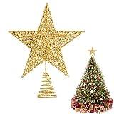 Dadabig 1 Stück Weihnachtsbaum Topper Star Christbaumspitze Stern Weihnachtsbaum Spitze Baumspitze Stern Christbaumschmuck Glitzernde Baum Ornament Tannenbaum Stern Weihnachtsfeier Decoartion (Gold)