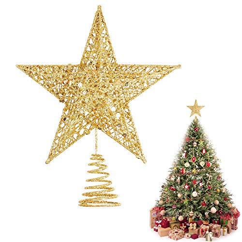 1pcs Estrella para árbol de Navidad Decoración de Fiesta de Navidad, Adorno de árbol de Navidad, 25 * 21cm Estrella de Navidad para Decoración de Copa de árbol,Mesa y Ventana (Dorado, 25 * 21cm)