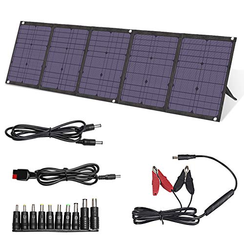 BigBlue 100W Solar Panels Kit Foldable with PD 60W Type C, Dual USB Ports(Fast Charging) and 18V DC Output, Solar Phone Charger for Portable Power Station, iPhone, iPad, Laptop, Camera, GPS etc.