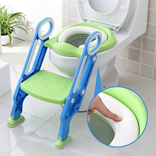 Sinbide Escalera Asiento Escalera del Tocador de Niños, Reductor WC para Niños Acolchado Suave con Escalón Plegable Abatible Ajustable, Antideslizante (Azul-Verde) 🔥