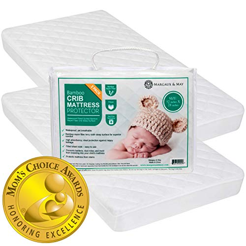 Crib Mattress Protector Pad 2 Pack - Ultra Soft (Mom's Choice Award Winner) by Margaux & May - Waterproof - Noiseless - Dryer Friendly - Deluxe Bamboo Rayon - Fitted, Quilted