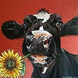 WYQN Kreuzstich-Sticker für Wohnzimmer-Dekoration, schwarze Kuh-Sonnenblume, 29,5 x 30 cm, 1 Packung