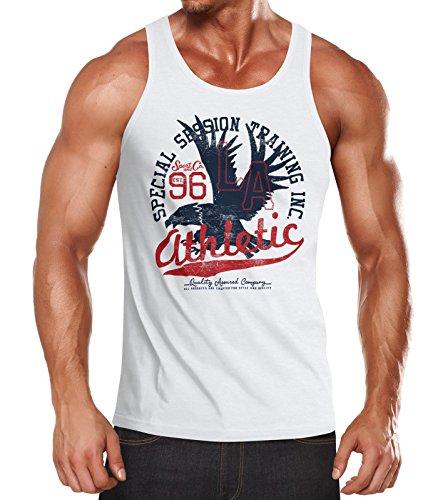 Neverless Herren Tank Top Athletic Adler Eagle Sport College Muskelshirt Muscle Shirt Achselshirt weiß M