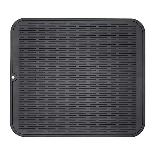 ZLR Silicone Dish Drying Mat Easy Clean Dishwasher Safe Heat Resistant Eco-Friendly Trivet Black XL 16 inches X 18 inches