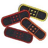 Flicken Pflaster Set 4 Bügelflicken 3 x 8,3cm Jeans Patches zum Aufbügeln als Hosenflicken rot orange gelb